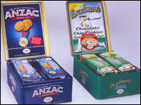 WANTED ANZAC & Bradman Unibic Biscuit Gift tins issued in 2003  - 1
