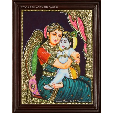 Baby Krishna with Yasotha Tanjore Painting for Sale  - 1