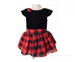 Party Dresses for Kids in Black and Red Checks by Faye