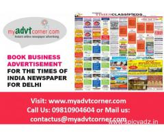 Times of India Business Advertisement for Delhi