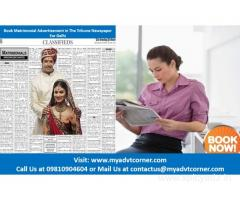 The Tribune Delhi Matrimonial Classified Ads