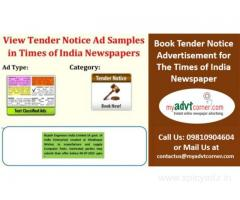 Times of India Tender Notice Classified Display Advertisement