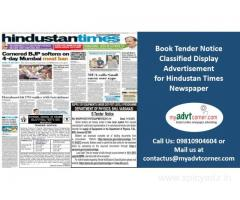 Tender Notice Classified Display Ads in Hindustan Times