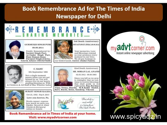 Times of India Remembrance Classified Display Ads for Delhi - 1