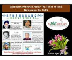 Times of India Remembrance Classified Display Ads for Delhi