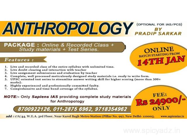 Anthropology Online Classes, UPSC IAS Best Coaching in India