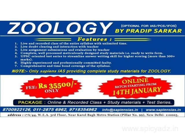 Zoology Online Classes, UPSC IAS Best Coaching in India