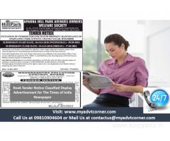 Tender Notice CD Advertisement for Times of India