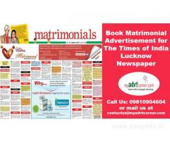 Matrimonial Classified Display Ads in Times of India Newspaper for Lucknow