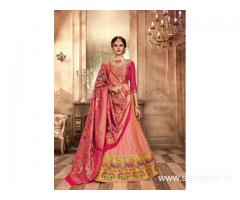 Grab up to 50% off on designer silk lehengas at Mirraw