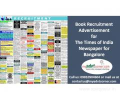 Times of India Bangalore Recruitment Classified Ads