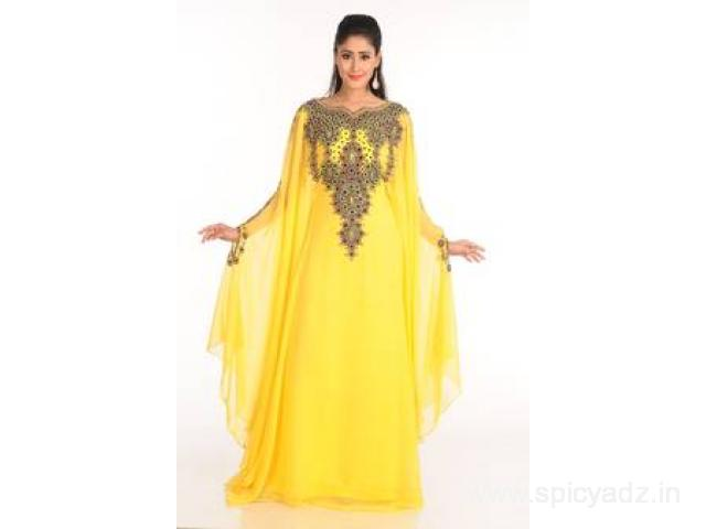 Checkout Embroidery Yellow Kaftans dresses at Mirraw Online Store