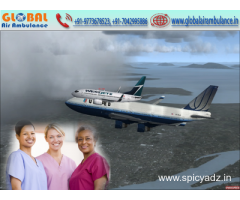 Global Air Ambulance from Jamshedpur with Scoop Stretchers Bed