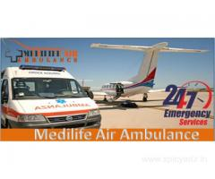 Medilife Air Ambulance in Guwahati All Fitted with Advanced Equipment