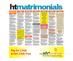 Hindustan Times Delhi Matrimonial Classified Advertisement