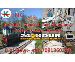 Low Cost with Bed to Bed ICU Services by Train Ambulance from Delhi to Mumbai