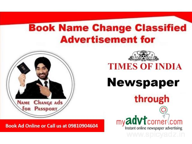 Times of India Name Change Classified Ads