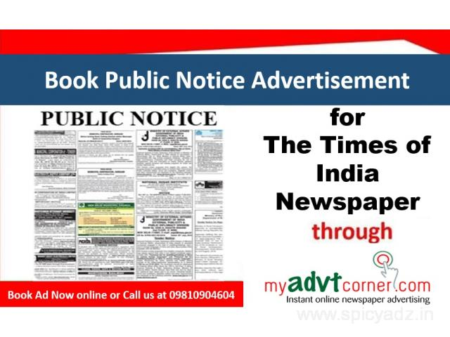Times of India Public Notice Classified Ads