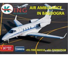 Gain Modern Emergency Support Air Ambulance Service in Bagdogra by King