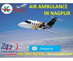 Pick Superlative Life Support Air Ambulance Service in Nagpur by King