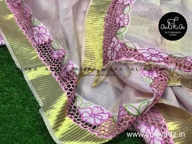 Pink Tissue Silk Saree with Cutwork by Alika Fabs - 1