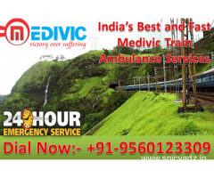 Get Medivic Aviation Train Ambulance in Dibrugarh with Complete ICU Facility