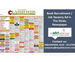 The Hindu Recruitment Ad Booking Online