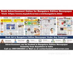 Newspaper Ad Booking for Bangalore