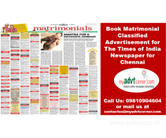 Matrimonial Ad in Times of India Newspaper for Chennai