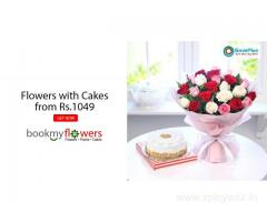 Flowers with Cakes from Rs.1049