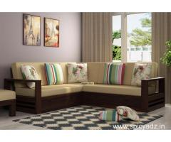 Get an Admirable Wooden L shape sofa in Mumbai Online @Best Price