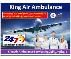 Low Fare IU Setup Air and Train Ambulance Service in Delhi-King Air