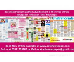 Matrimonial Ad Booking for The Times of India Newspaper