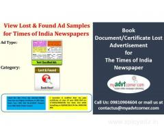 Certificate Lost Advertisement in Any Newspaper
