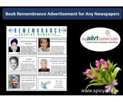 Remembrance Newspaper Ad Booking Online