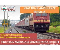 Get Top and Fast Train Ambulance Patna to Delhi by King
