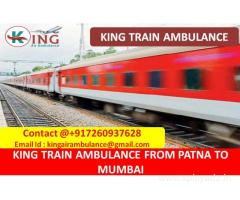 Finest and Affordable Train Ambulance Patna to Mumbai by King