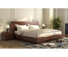 Purchase solid wood beds without storage in Hyderabad at Wooden Street