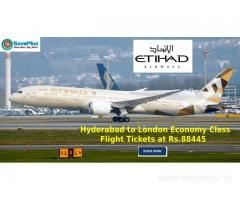 Hyderabad to London Economy Class Flight Tickets at Rs.88445
