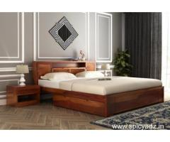 Solid wood double beds upto 55% off online on Wooden Street