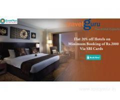 Travel guru Coupons, Deals: Flat 20% off Hotels on Minimum Booking of Rs.2000 Via SBI Cards