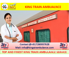 Get Quick and Fast Emergency Train Ambulance Patna to Delhi by King
