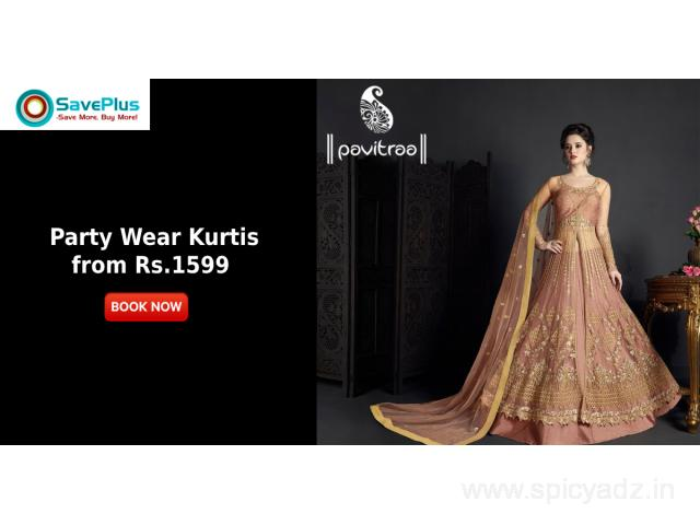 Get Party Wear Kurtis from Rs.1599 - 1