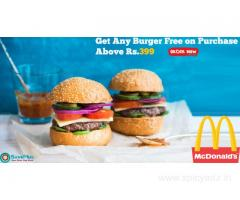 McDonald's Coupons: Get Any Burger Free on Purchase Above Rs.399