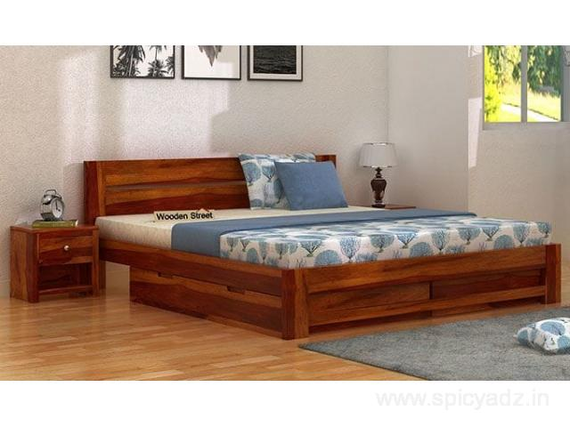 Check out the latest latest double bed designs collection - Wooden Street - 1