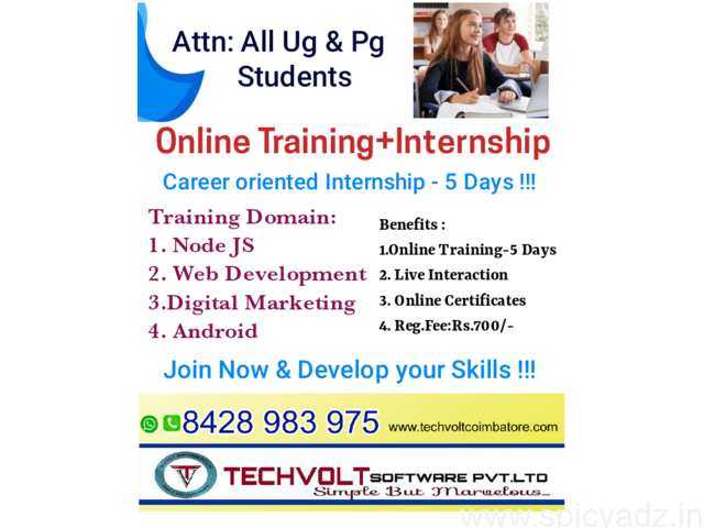 Summer Internship in Coimbatore || Gandhipuram || Digital Marketing (SEO) || Techvolt Software - 1