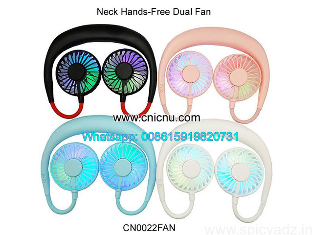 Portable Hands-free Neck USB Rechargeable Dual Mini Fan - 1