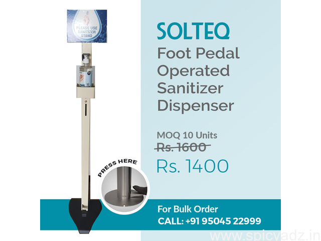SOLTEQ - Hands Free Sanitiser Dispenser Stand - Foot Paddle Operated - 1