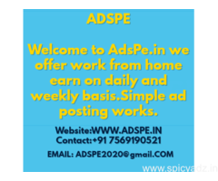 Home Based Online Part Time Ad posting work guaranteed job