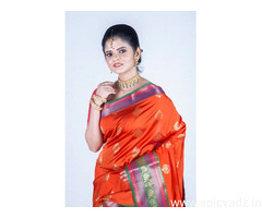 Get your glam look by wearing Katan silk sarees online